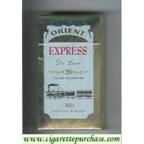 Discount Express Orient De Luxe 100s cigarettes light blue and gold hard box
