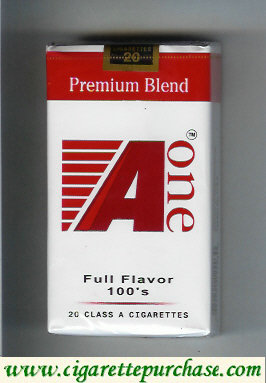 A One 100s cigarettes (vertical 'One') Premium Blend Full Flavor