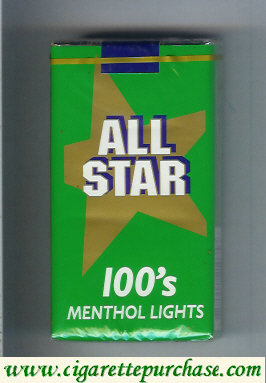 All Star 100s Menthol Lights cigarettes