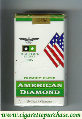 Discount American Diamond Menthol Light 100s cigarettes Premium Blend