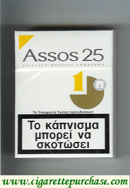 Assos 25 cigarettes white and yellow