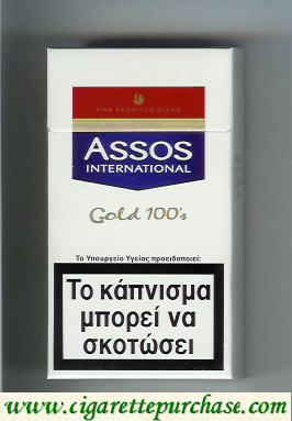 Assos International Gold 100s cigarettes Fine American Blend