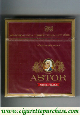 Discount Astor Ohne Filter cigarettes Waldorf Astoria International New York