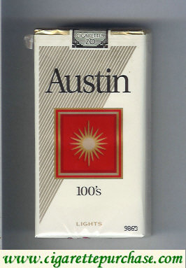 Austin 100s Lights cigarettes with square