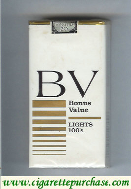 Discount BV Bonus Value Lights 100s cigarettes USA