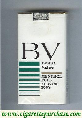 Discount BV Bonus Value Menthol 100s cigarettes Full Flavor USA