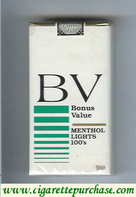 Discount BV Bonus Value Menthol Lights 100s cigarettes USA