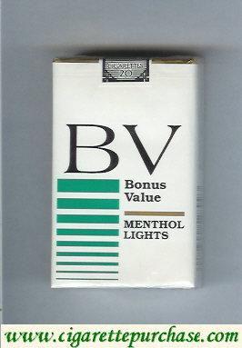 Discount BV Bonus Value Menthol Lights cigarettes USA