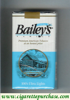 Bailey's Family 100s Ultra Lights cigarettes