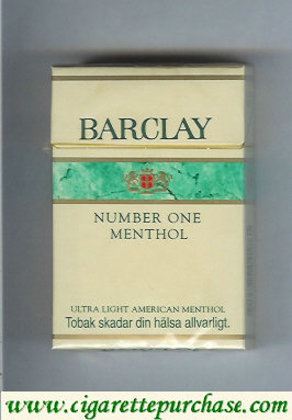 Barclay Menthol Number One cigarettes