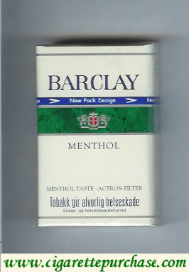 Discount Barclay Menthol cigarettes Norway