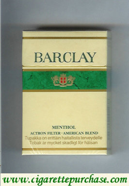 Barclay Menthol king size cigarettes usa