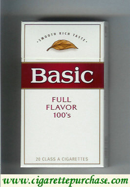 Discount Basic 100s cigarettes Smooth Rich Taste Full Flavor hard box