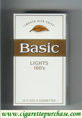 Discount Basic Lights 100s cigarettes Smooth Rich Taste hard box