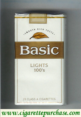 Discount Basic Lights 100s cigarettes Smooth Rich Taste soft box