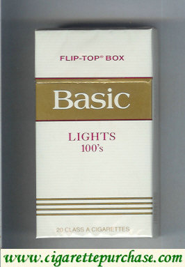 Discount Basic Lights 100s cigarettes flip-top box hard box