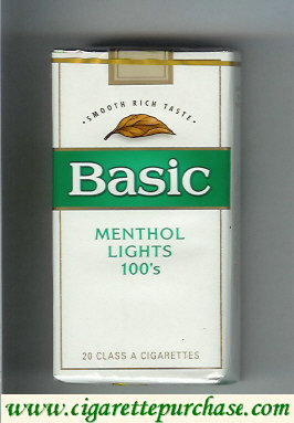 Discount Basic Menthol Lights 100s cigarettes Smooth Rich Taste soft box