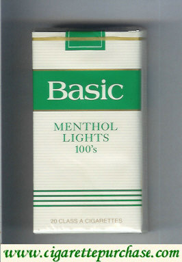 Discount Basic Menthol Lights 100s cigarettes soft box