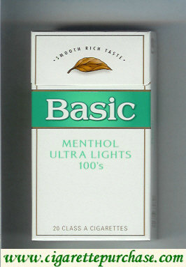 Discount Basic Menthol Ultra Lights 100s cigarettes Smooth Rich Taste hard box
