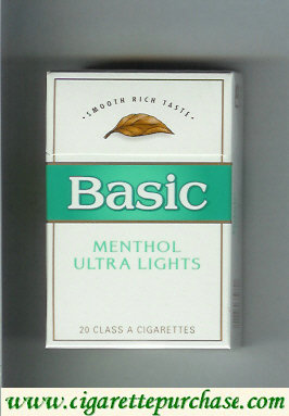 Discount /Basic Menthol Ultra Lights cigarettes Smooth Rich Taste hard box