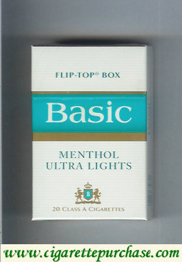 Discount Basic Menthol Ultra Lights cigarettes hard box