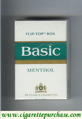 Discount Basic Menthol cigarettes filter flip-top box