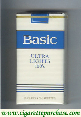 Basic Ultra Lights 100s cigarettes soft box