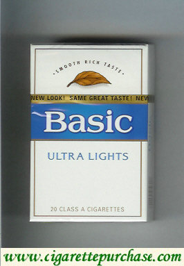 Discount Basic Ultra Lights cigarettes Smooth Rich Taste hard box