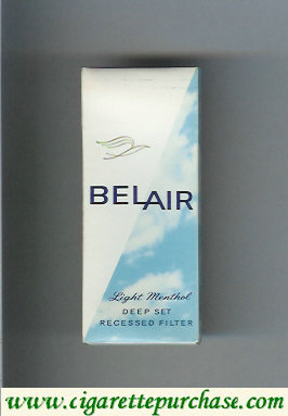 Belair Light Menthol cigarettes Deep Set Recessed Filter