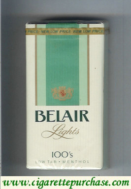 Belair Lights 100s Menthol cigarettes low tar