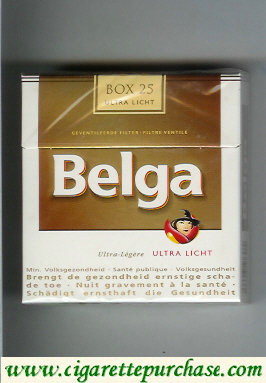 Belga cigarettes Ultra Licht white gold box 25