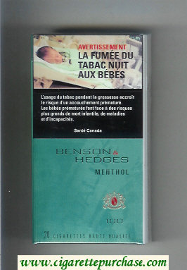 Discount Benson and Hedges Menthol 100s cigarettes hard box