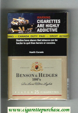 Benson and Hedges de Luxe Ultra Lights cigarettes hard box