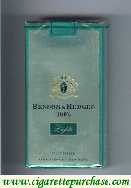 Benson and Hedges Menthol Lights 100s cigarettes soft box