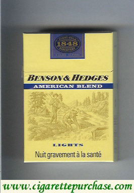 Benson and Hedges American Blend Lights cigarette 1848 yellow France