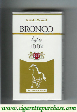 Bronco Lights 100s cigarettes Colombian Blend USA