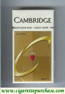 Cambridge Lights 100s cigarettes hard box