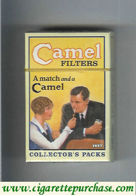 Discount Camel Collectors Packs 1927 Filters A match and a Camel cigarettes hard box