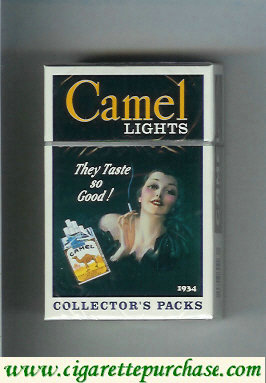 Discount Camel Collectors Packs 1934 Lights cigarettes hard box