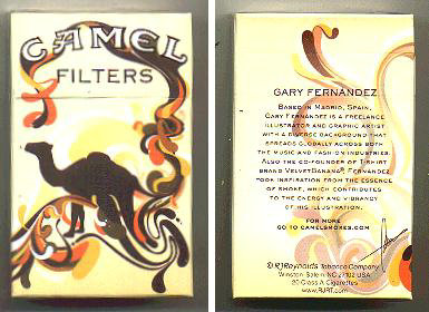 Discount Camel Filters Art Issue designed by Gary Fernandez cigarettes hard box
