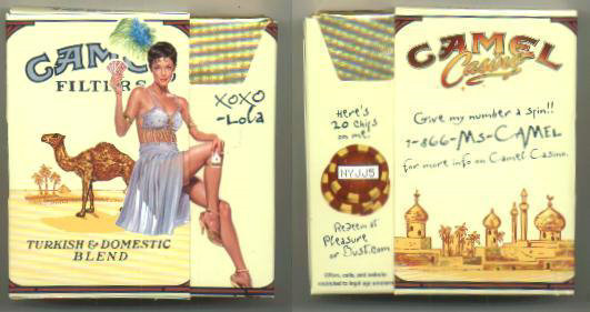 Camel Filters Casino Showgirl Issue Lola side slide cigarettes hard box