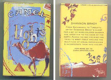 Discount Camel Lights Art Issue designed by Shannon Brady side slide cigarettes hard box