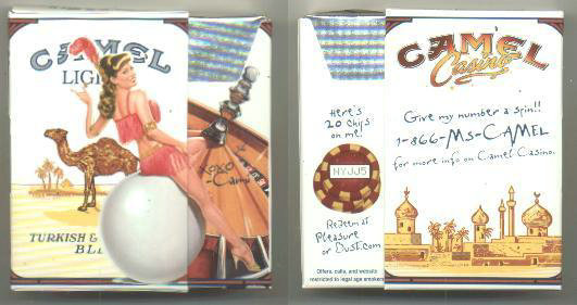 Discount Camel Lights Casino Showgirl Issue Cami side slide cigarettes hard box