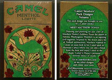 Discount Camel Menthol Lights Smokers Pack Designs Volume 1 cigarettes hard box