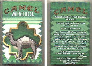 Discount Camel Menthol Smokers Pack Designs Volume 1 cigarettes hard box