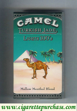 Discount Camel Turkish Jade Mellow Menthol Blend Lights 100s cigarettes hard box