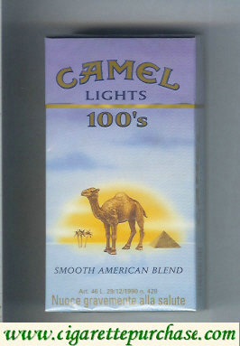 Camel with sun Smooth American Blend Lights 100s cigarettes long size hard box