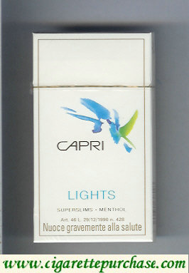 Discount Capri Lights  Menthol 100s cigarettes hard box