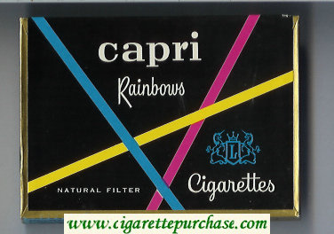 Discount Capri Rainbows cigarettes wide flat hard box