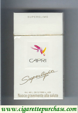 Discount Capri Superlights 100s cigarettes hard box